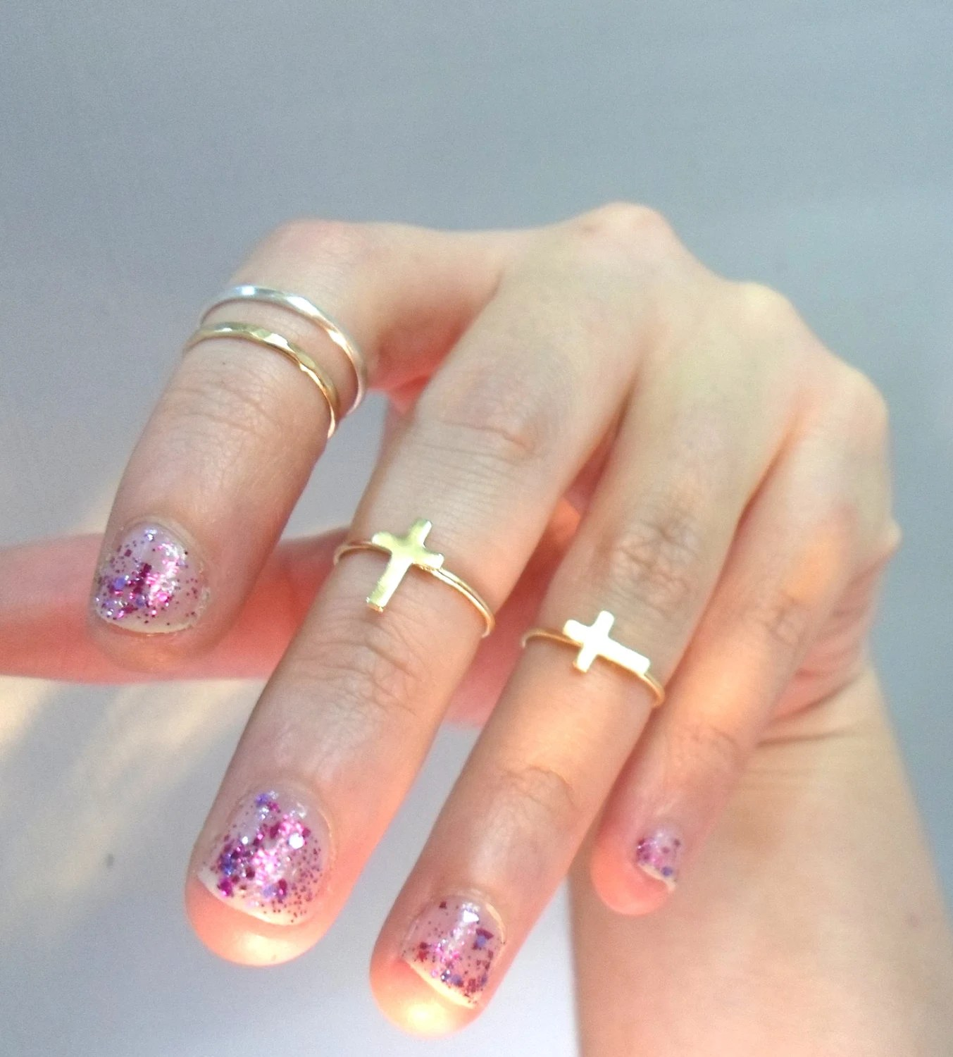 Cross Knuckle Ring -Layering Above the knuckle Gold Brass Stacking Ring