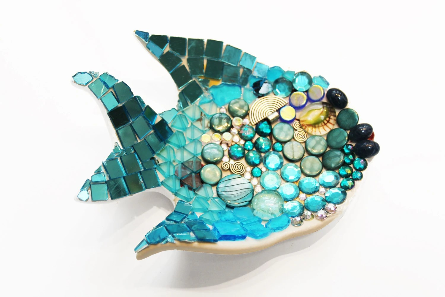 Mosaic Turquoise Bubbly Fish Dish - SecondLookMosaics