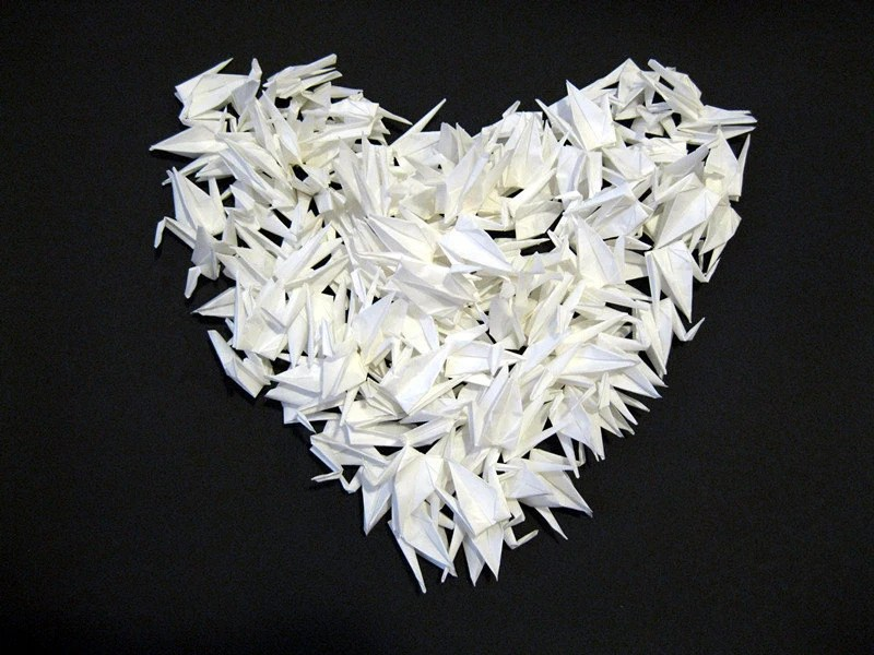 1000 3 white origami cranes paper cranes wedding party