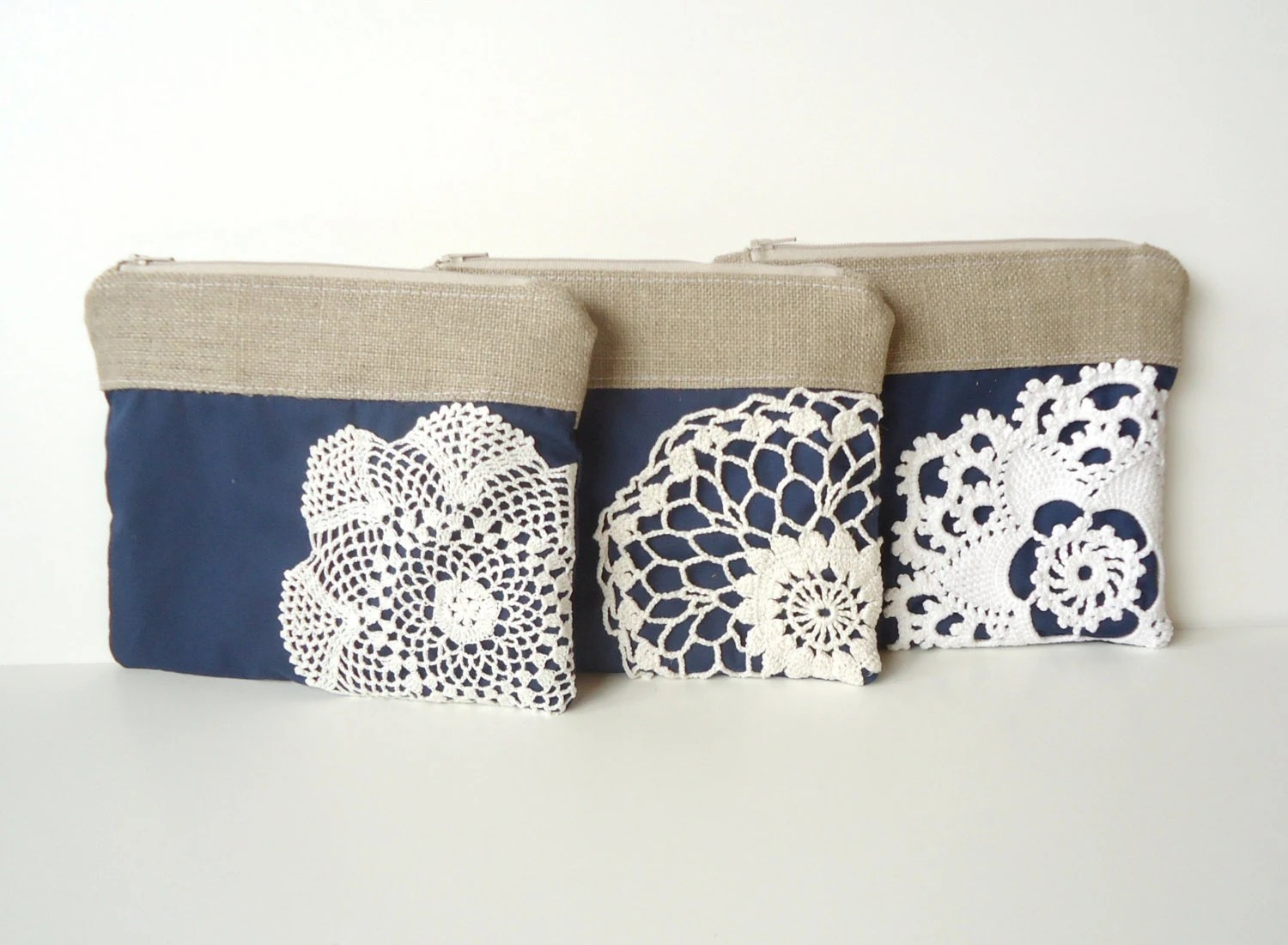 Set of 3 Navy Wedding - Burlap Vintage Doily Zipper Clutch - Navy Blue Bridesmaid - JuneberryStitches