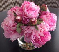Fine Silk Floral Arrangement Faux Pink Peonies In Round Vase