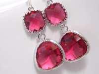 Glass Earrings Fuschia Earrings Fuchsia Earrings by mlejewelry