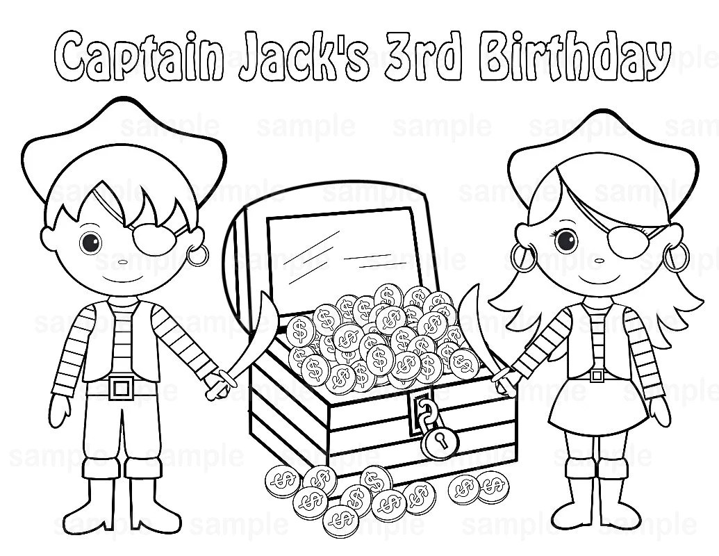 Personalized Printable Twins Pirate Birthday Party Favor