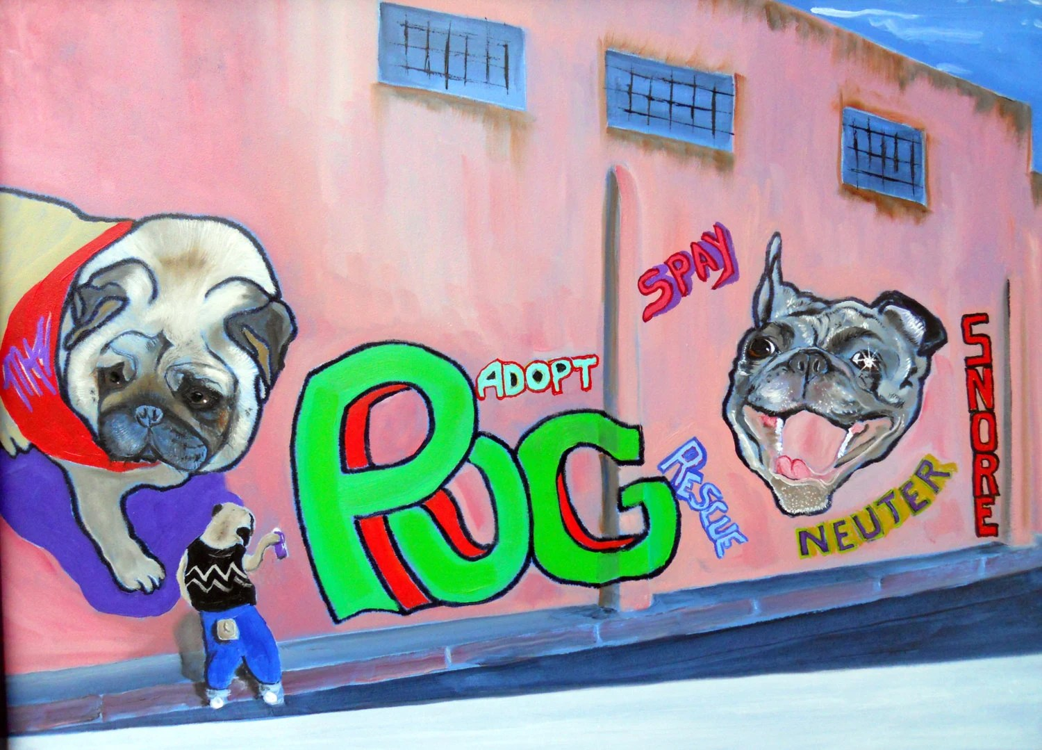 "Pug Dog Art Print / ""Littlest Tagger""/Graffiti/by Original Mike Holzer"