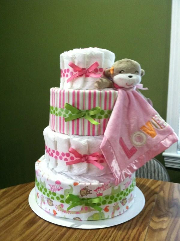 4 Tier Girly Monkey Diaper Cake