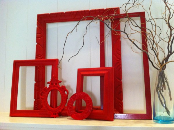 Red Empty Collage Frames Vintage Frame Set