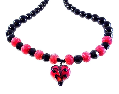 Valentines Day Heart Necklace Handmade Lampwork Glass Beads SRA Rose Red and Black - KittyKatGlassDesigns