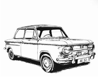 Classic MINI Cooper Sports Car / Car Drawing / by