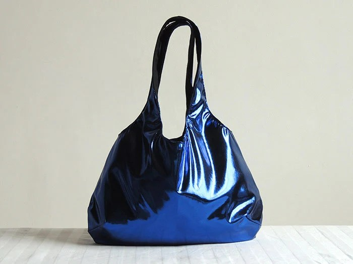 Metallic Blue Hobo Tote Bag - Spring Fashion - lilyshih