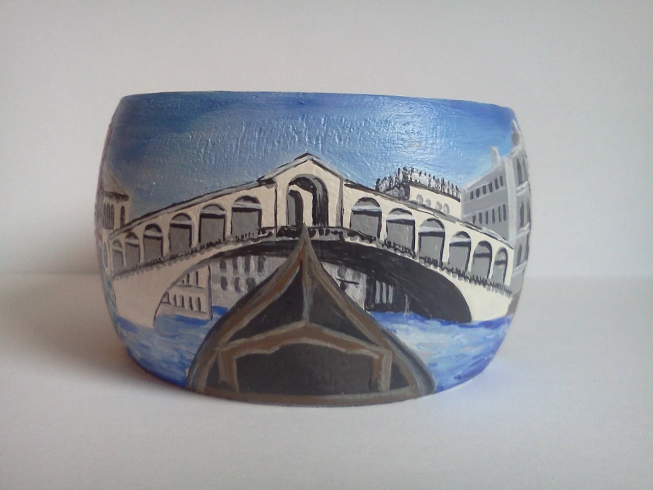 AROUND the world-Venice-handpainted WOOD bracelet