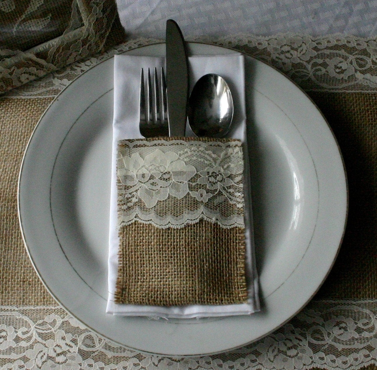 Burlap Silverware Pockets Cutlery Holders 10 For 25