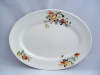 Vintage Homer Laughlin China Kwaker Yellow Roses Flowers Oval