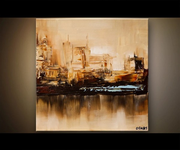 City Painting 24x24 Original Contemporary Abstract Modern