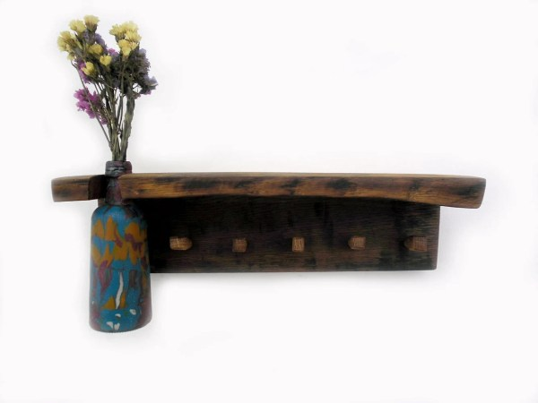 Wooden Key Holder With Shelf And Vase Thirdcloudtotheleft