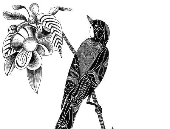 Black ink pen drawing digital print of original. Printed on