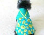 Pet Dress for Small Dogs - Turquoise, Butter Yellow & White Cotton with Ribbon Trim - Pomeranian Size - BloomingtailsDogDuds
