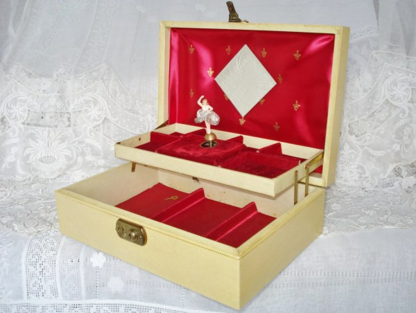 Vintage Jewelry Box Music With Dancing Ballerina
