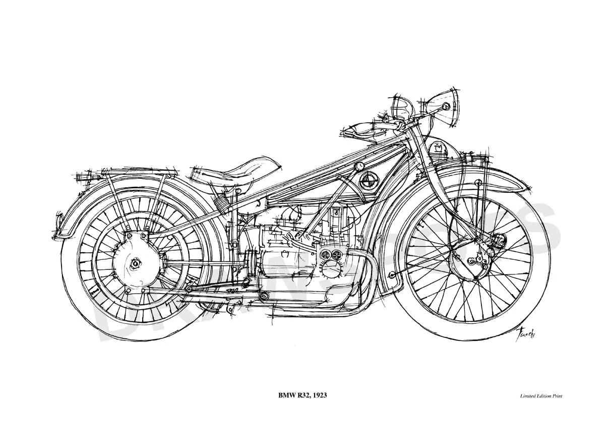 Bmw R32 Original Handmade Drawing Print 11 5x16 In