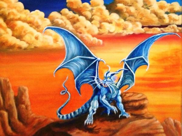 Dragon Art Fantasy Blue Desert Landscape Giclee