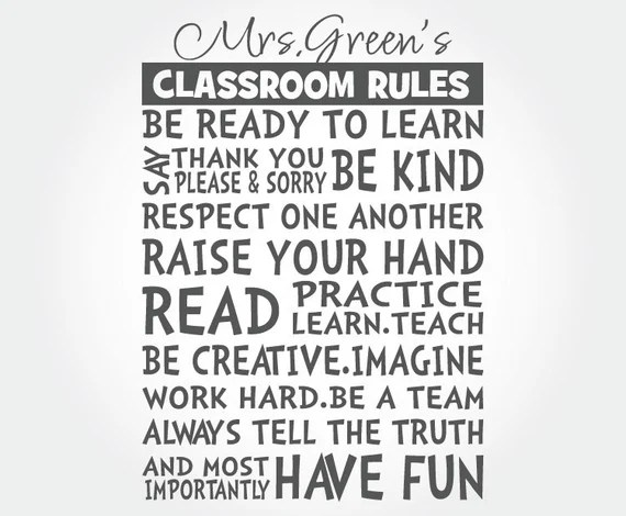 Classroom Rules Wall Decal by StarStruckIndustries
