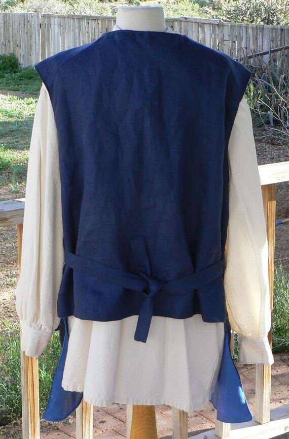 Linen Pirate Vest Colonial Jack Sparrow Waistcoat LARP