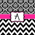 And chevron hot pink black and white personalized shower curtain