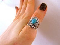 Turquoise stone filigree ring middle finger ring thumb by ...