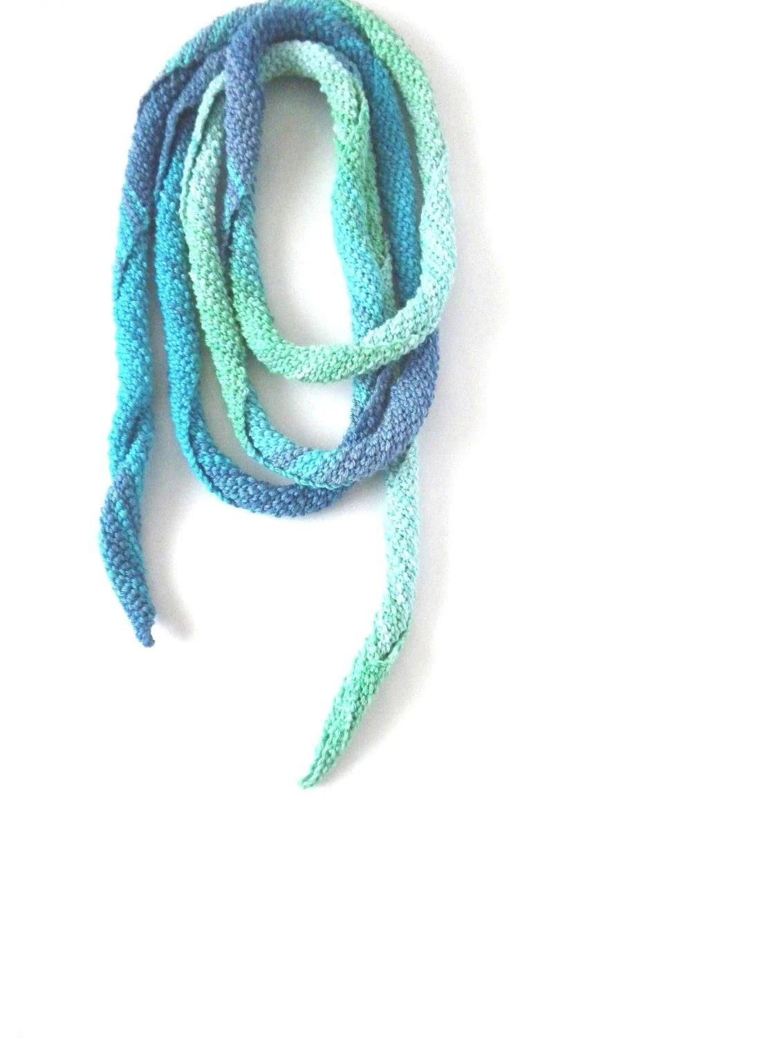 100% Mercerized Cotton Turquoise, Mint, Spiral, Skinny Scarf, Crochet, Necklace, Spring, Summer, Fall, Autumn Fashion - pippisLongstockings