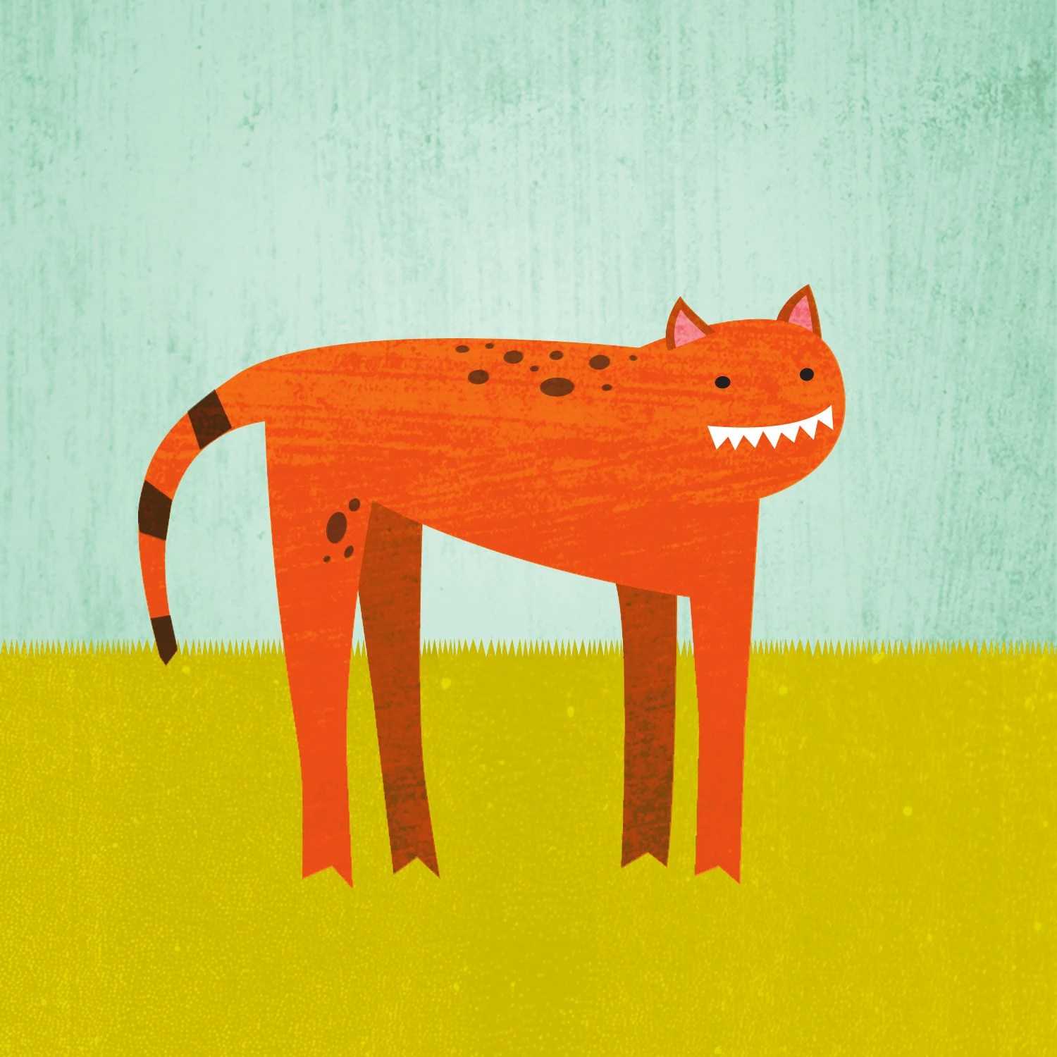 Happy Cat - 8x8 cat print mounted on wood panel - Meremart