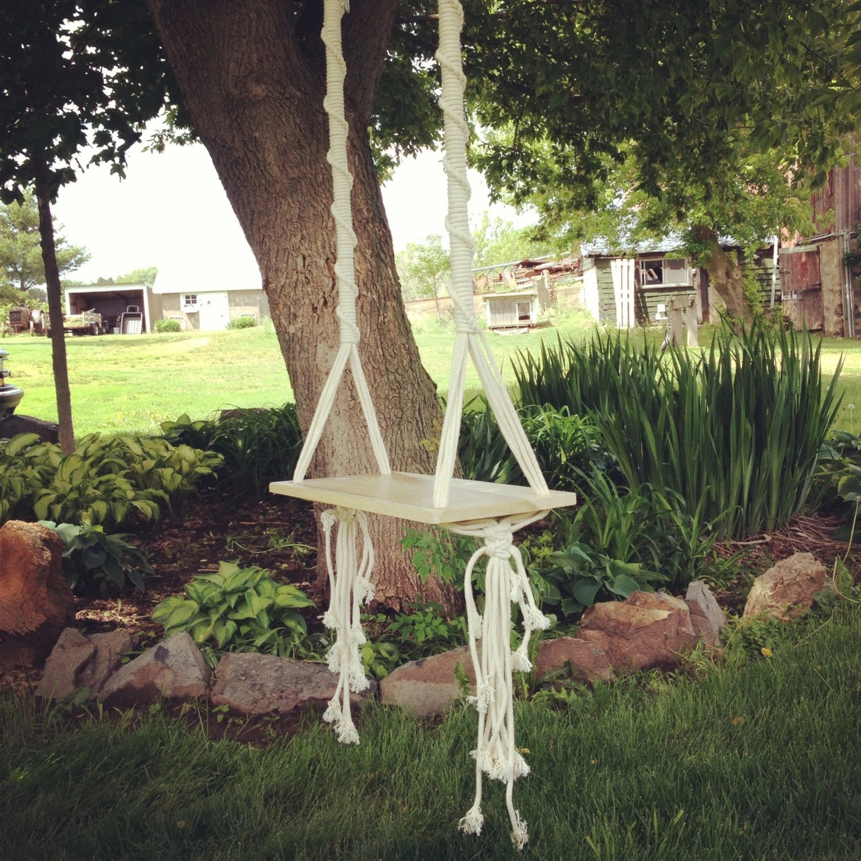 hanging tree swing chair wrought iron pads macrame