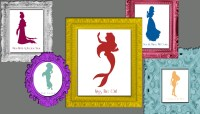 Disney Princess Silhouette Wall Art 12 8x10 prints with Song