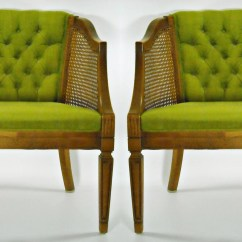 Mid Century Cane Barrel Chair Sky Blue Pair Back Tufted By