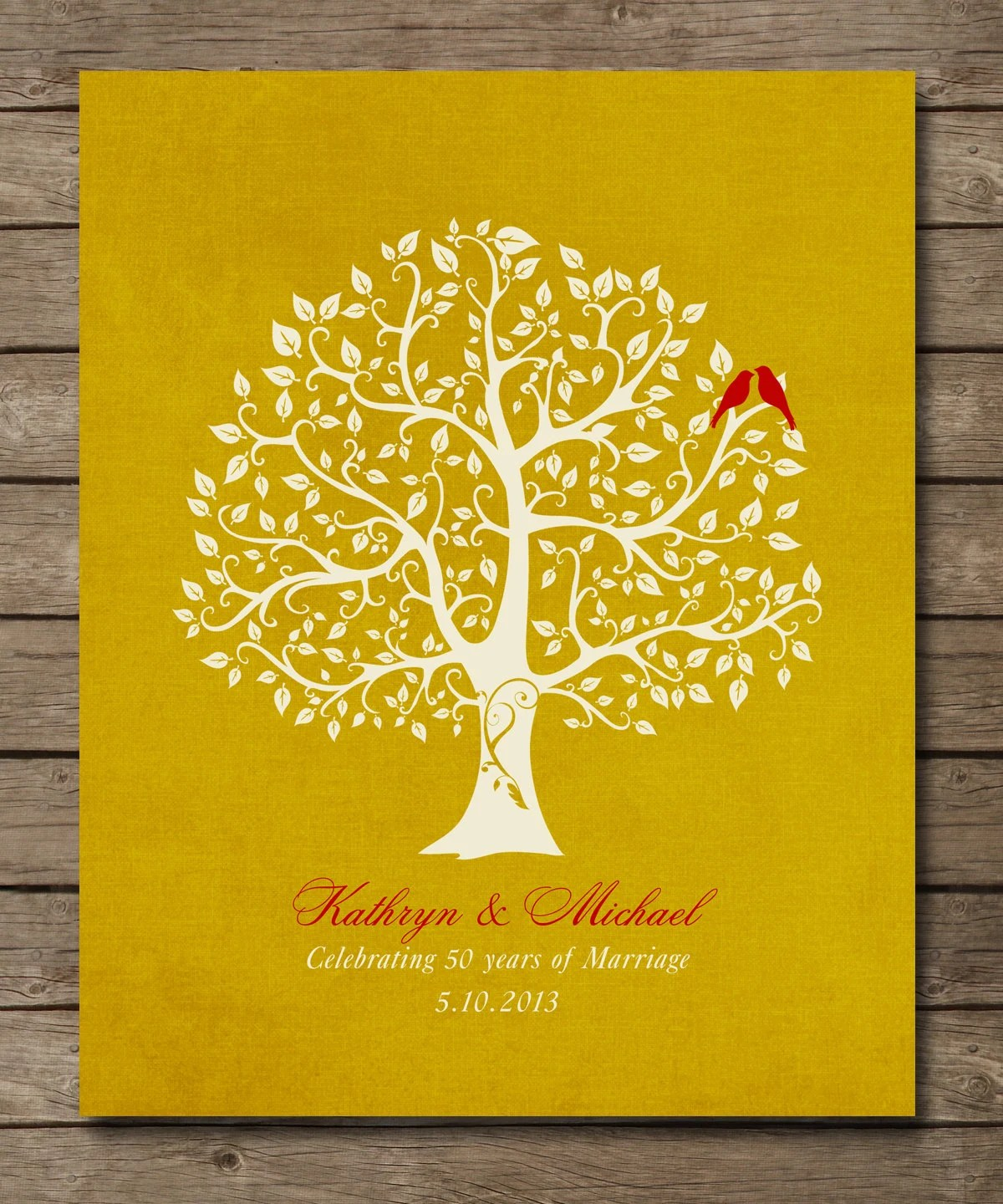 50th Wedding Anniversary Tree Gift Golden by WordsWorkPrints