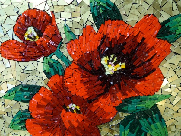 Mosaic Red Flowers Tile Wall Art With Gold