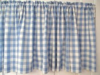 Vintage Blue White Gingham Cafe Curtain Cotton by AStringorTwo