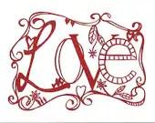 Love - Original Paper Cut - Red - Papercutwords