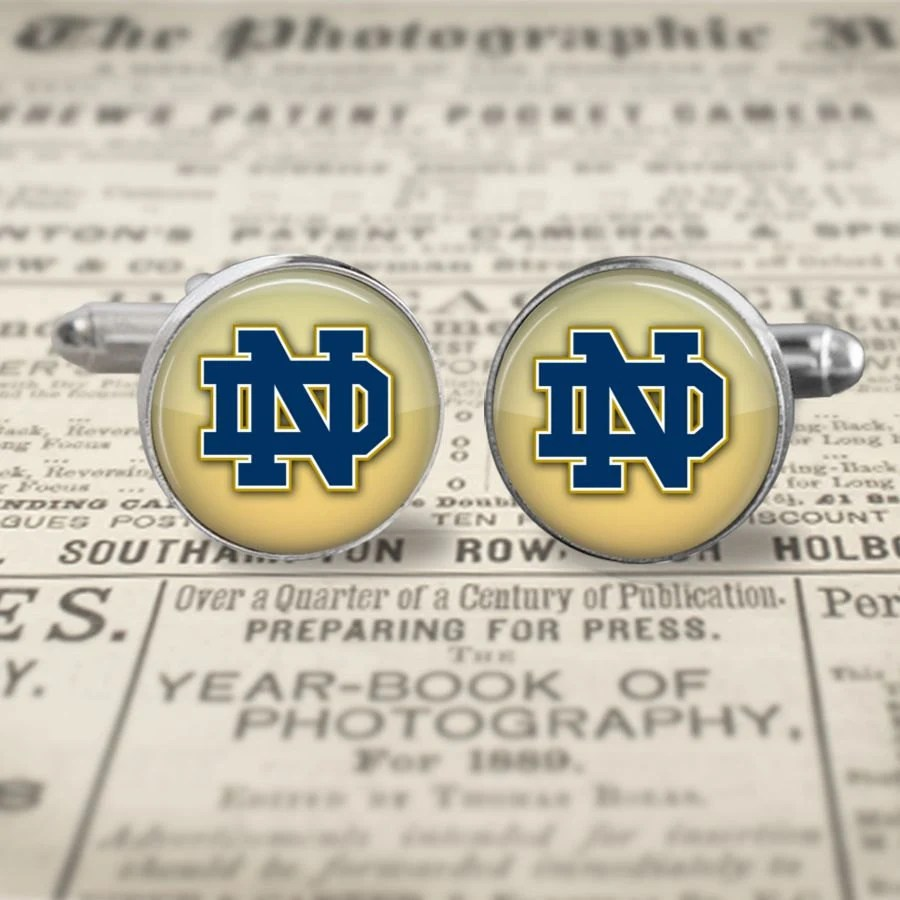 NOTRE DAME (NEW) Silver metal plated cufflinks- with everything from your favorite superhero to sports team-and everything in between