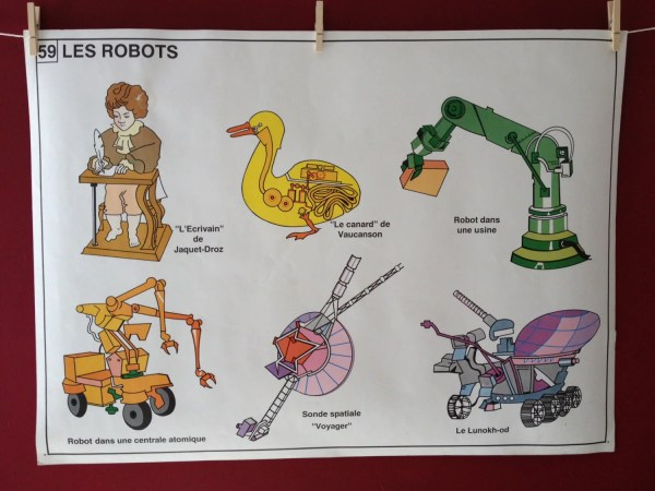 Vintage French Educational Poster Of Robots And Computers