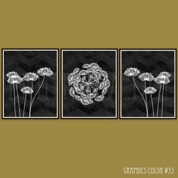 Flower Art Prints Chevron Wall Modern Floral Decor