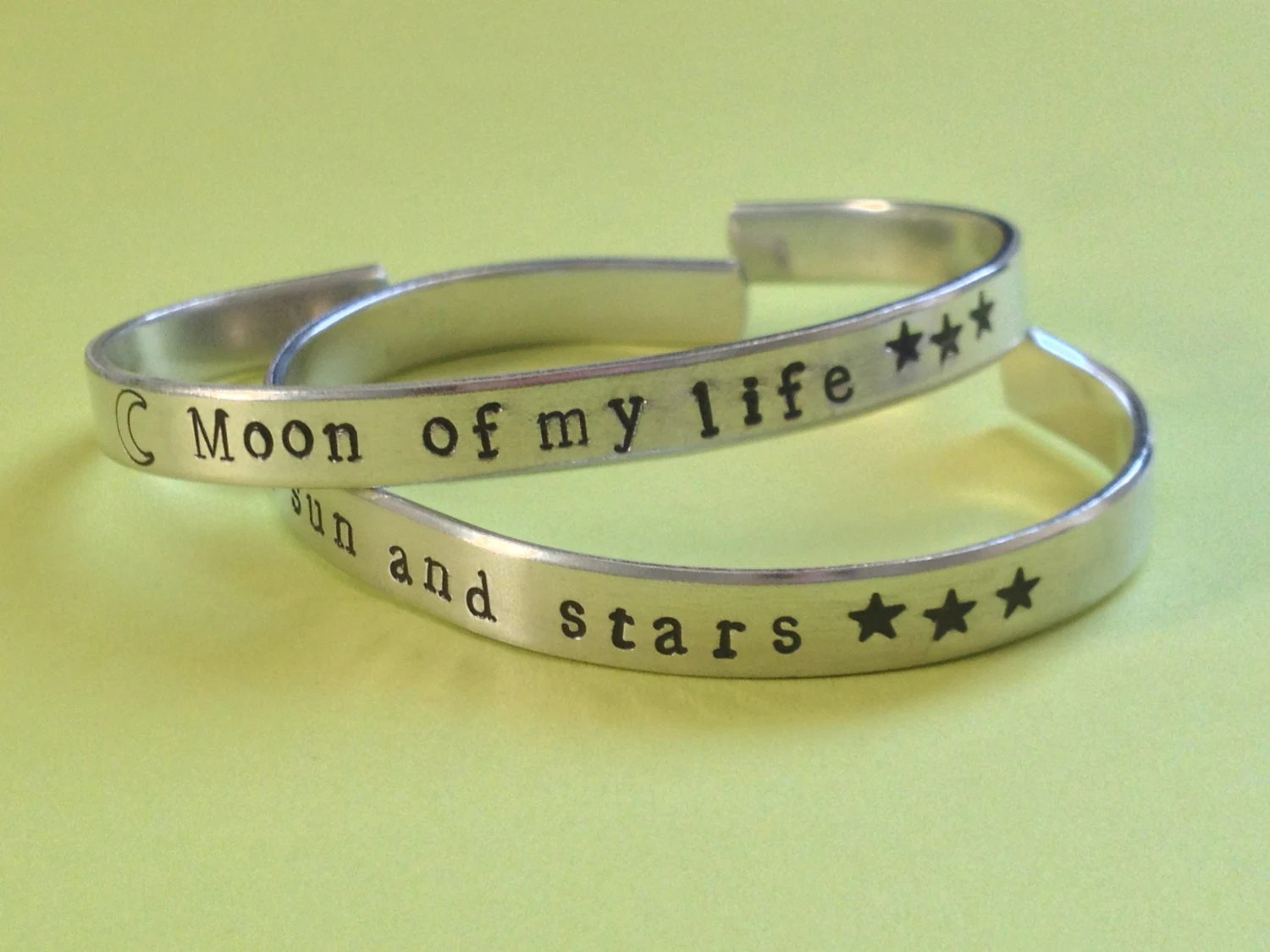 Moon of My Life, My Sun And Stars Game of Thrones  Inspired Set of Two  Bracelets - Hand Stamped Aluminum