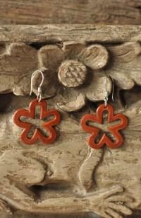 Orange LEATHER FLOWERS Earrings Sterling silver orange