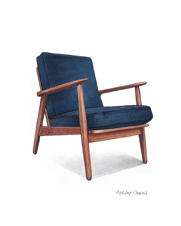 modern blue chair pink lucite mid century danish teak drawing navy