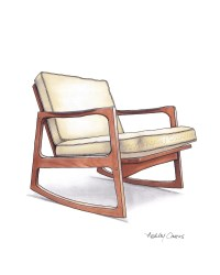 Mid Century Modern Danish Teak Chair Drawing Natural Linen