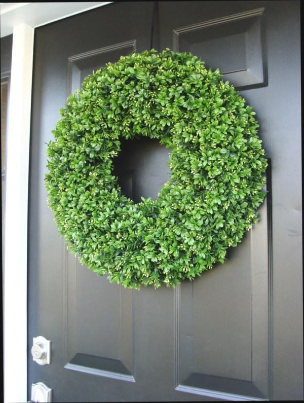 Year Wreath Front Door Decor Faux Boxwood