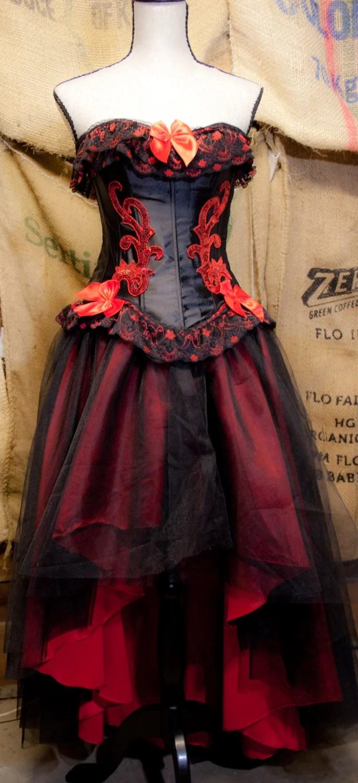 Corset Tulle Gothic Prom Dress Red Black Tutu Skirt Amp Wedding