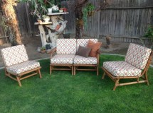 1950s Bamboo Patio Furniture Modular Sectional Love Seat