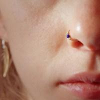 18k Solid Gold Nose Ring Small Gemstone Embellished Hoop