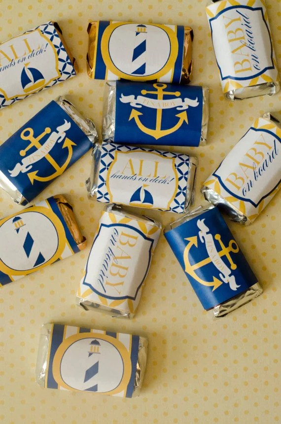 Nautical Baby Shower PRINTABLE Mini Candy Bar Wrappers