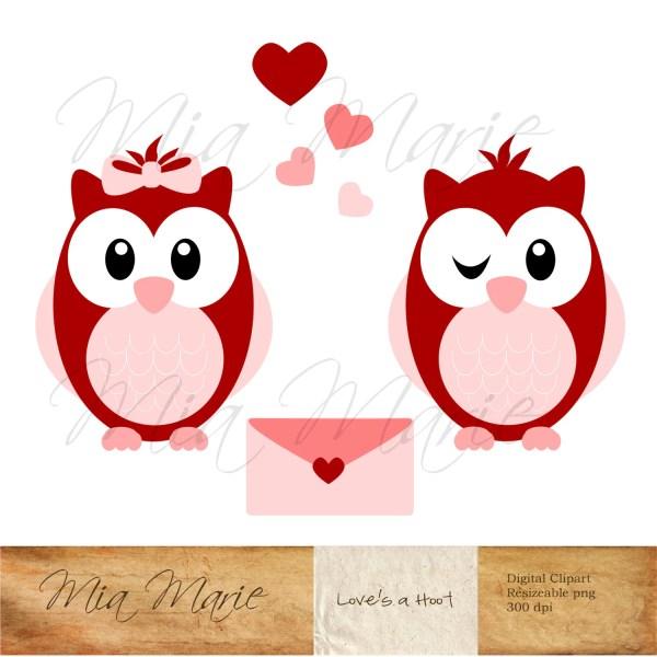 Instant Valentine Clip Art Owl Clipart