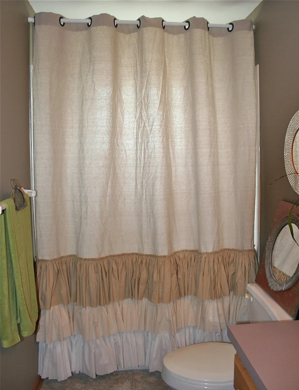 Shabby Chic Shower Curtain Ruffled Farmhouse or Beach From